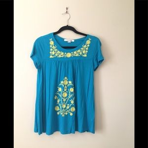 Forever 21 Stretchy Embroidered Flowers Top